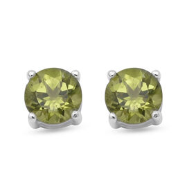 1.84 Ct Chinese Peridot Stud Earrings in Sterling Silver With Push Back