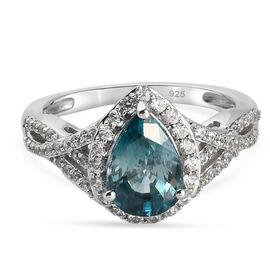 Ratanakiri Blue Zircon and Natural Cambodian Zircon Ring in Platinum Overlay Sterling Silver 3.73 Ct