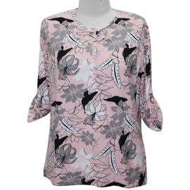 Aura Boutique Supersoft Neck Detail Printed Top in Pink (Size XL, 20-22)