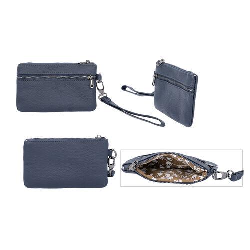 2 Piece Set - 100% Genuine Leather Wristlet Bag (Size 15x3x9cm) and Key/Coin Bag (11x6cm) - Navy