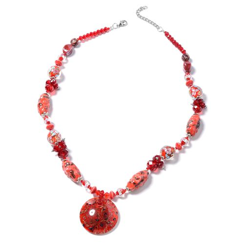 Murano Style Glass, Ceramic, Simulated Ruby, Simulated Grey Moonstone, White Shell and Multi Colour