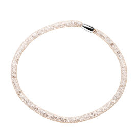 White Austrian Crystal Choker Necklace (Size 20) in Gold Tone