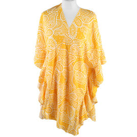 JOVIE Paisley Pattern Kimono with Ruffle Sleeves (Size-72X82 Cm)- Yellow and White