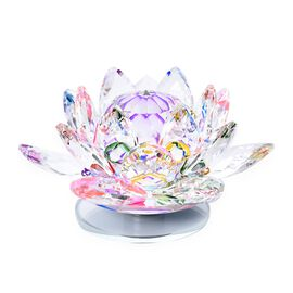 Home Decor - Crystal Lotus Flower with Rotating Base (Size 10x6 Cm) - Multicolour