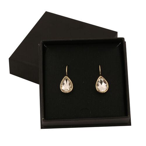THOMAS CALVI Crystal Lever Back Tear Drop Earrings in Gold Tone