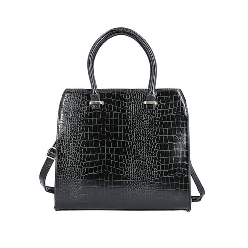Croc Embossed Satchel Bag with Zipper Closure and Detachable Shoulder Strap (Size 32x12x28 Cm) - Bla