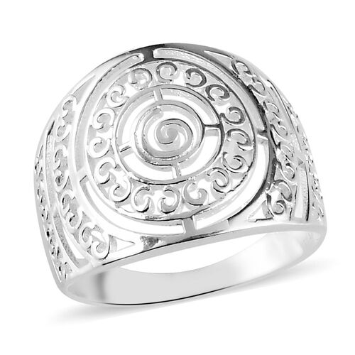 Cobbled Pattern Band Ring in Silver