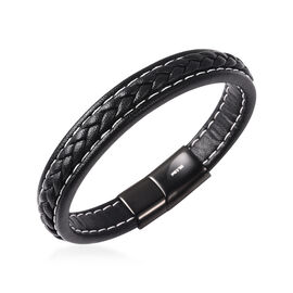 Men Bracelet in Stainless Steel Classic Black 8.25 Inch