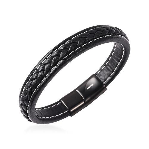 Men Bracelet in Stainless Steel Classic Black 8.25 Inch