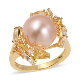 12mm South Sea Golden Pearl and Yellow Sapphire Ring in Gold plated Silver