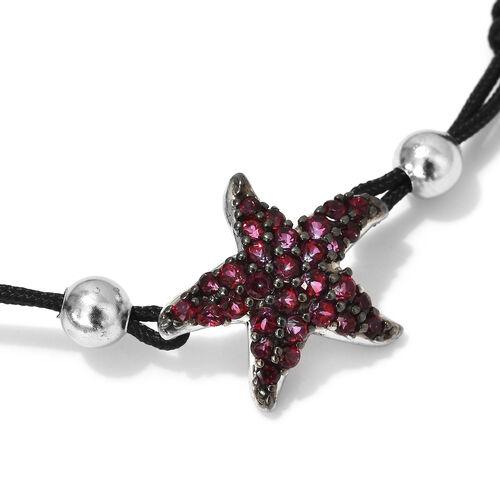 GP Signity Blazing Red Topaz (Rnd), Blue Sapphire Adjustable Starfish Bracelet (Size 6.5-9.5) in Platinum Overlay Sterling Silver 1.14 Ct.