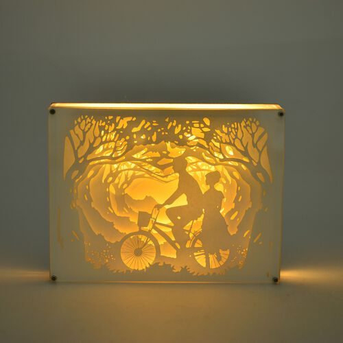 Fairy Tale Lighting with Paper Cut 3D Love Pair Motif with Bicycle (Size 21x16 cm)