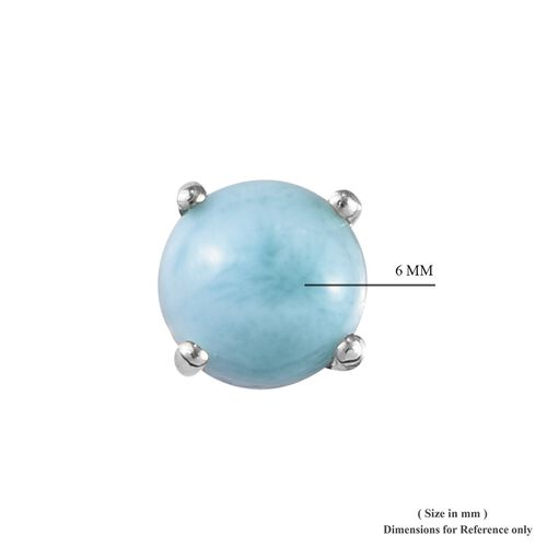Larimar (Rnd) Stud Earrings (with Push Back) in Sterling Silver 2.250 Ct.