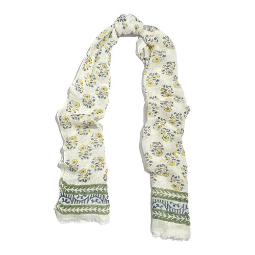 Hand block Printed Scarf -- White,Blue and Yellow Colour (Size 180x75 Cm)