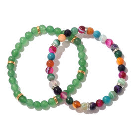 Set of 2- Green and Multi Colour Agate Beads Strechable Bracelet (Size 7.50) in Platinum and Yellow Gold Overlay Sterling Silver 75.000 Ct