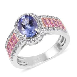 2.31 Ct Tanzanite and Pink Sapphire with Multi Gemstones Halo Ring in Sterling Silver