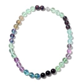 529.50 Ct Multi Fluorite Beaded Necklace in Rhodium Plated Silver 20 Inch