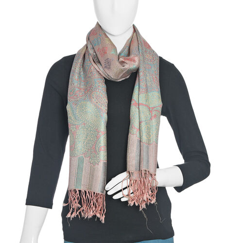 SILK MARK -100% Superfine Silk Rose, Green and Multi Colour Paisley and Stripe Pattern Scarf (Size 180x70 Cm)