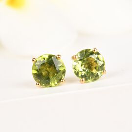 Hebei Peridot Stud Earrings (with Push Back) in 14K Gold Overlay Sterling Silver 1.770 Ct.