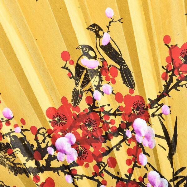 Decorative Yellow Bamboo & Floral Pattern Japanese Style Folding Fan (3 ft)