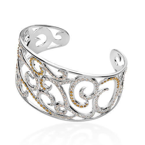 LucyQ Champagne, Orange and White Crystal Element Bangle (Size 7.5) in Sterling Silver 49.00 Gms.