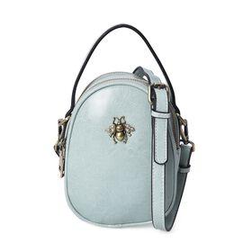 100% Genuine Leather Green Colour Cross Body Bag (Size 13x7x13.8 Cm) with Detachable Shoulder Strap