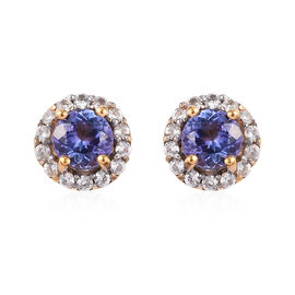 AAA Tanzanite and Natural Cambodian Zircon Halo Stud Earrings (with Push Back) 14K Gold Overlay Ster