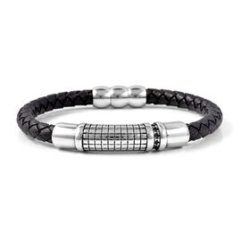 Genuine Braided Leather Black Oxidised Bracelet (Size 8)
