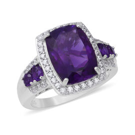 7.81 Ct Amethyst and White Zircon Halo Ring in Rhodium Plated Sterling Silver 6.50 Grams