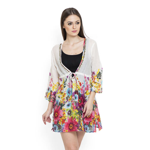 100% Cotton Fuchsia and Multi Colour Flowers Embroidered White Colour Beach Cover up and Poncho (Siz
