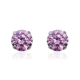 ELANZA AAA Simulated Kunzite (Rnd) Stud Earrings (with Push Back) in Sterling Silver