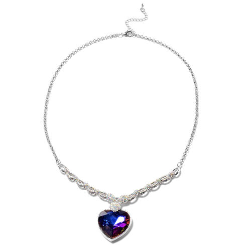 Simulated Mystic Topaz and Simulated Mystic White Crystal Necklace (Size 20 with 2 inch Extender) wi