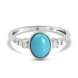 Arizona Sleeping Beauty Turquoise and Diamond Ring in Platinum Overlay Sterling Silver 1.12 Ct.