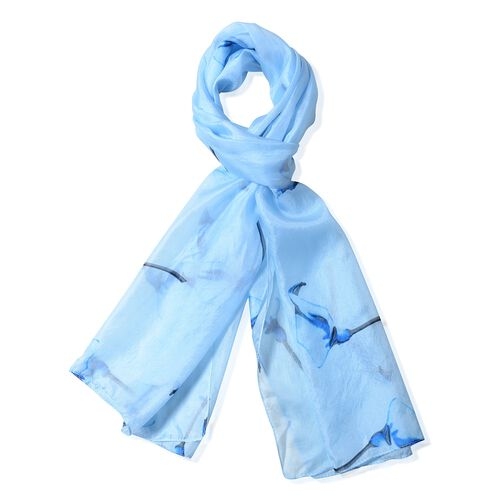 100%  Mulberry Silk Light Blue Colour Floral Pattern Scarf (Size 175x53 Cm)