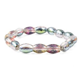 Simulated Mercury Mystic Topaz Barrel Beaded Stretchable Bracelet 7 Inch