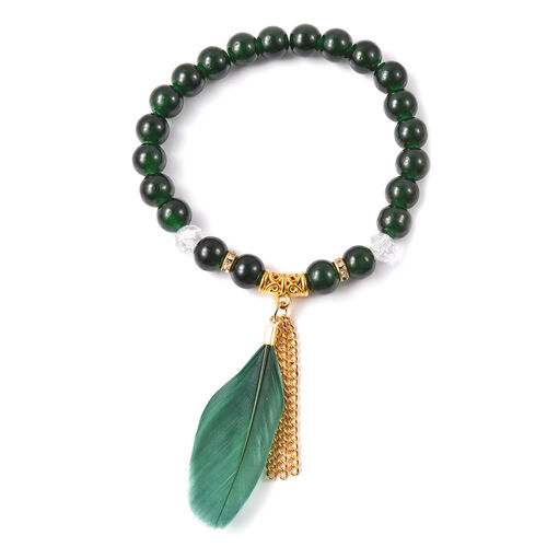 3 Piece Set - STRADA Japanese Movement Watch with Green Strap, Simulated Green Agate, White Austrian Crystal and Multi Gemstone Beaded Bracelets with Heart and Feather Charm in Gold Tone