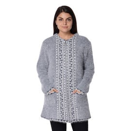 Soft and Smooth Winter Greek Key Pattern Sweater Coat with 2 Pockets (Size 53x79 Cm) - Navy and Whit