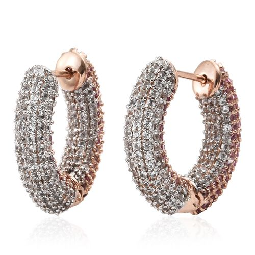 Designer Inspired - Pink Sapphire (Rnd), Natural Cambodian Zircon Hoop Earrings (with Clasp) in Rose Gold Overlay Sterling Silver 9.000 Ct. Silver wt.10.84 Gms. Number of Gemstone 600.