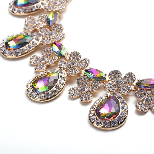 2 Piece Set - Simulated Mystic Topaz and White Austrian Crystal Drop Earrings and Adjustable Necklace (Size 18-22) in Gold Tone