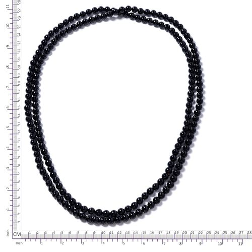 Hong Kong Endless Collection- Black Agate (Rnd) Beads Necklace (Size 60) 670.000 Ct
