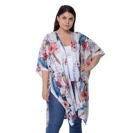 White and Multi Colour Bird and Floral Pattern Kimono (Size 94x89 Cm)
