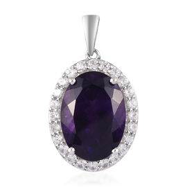 Amethyst and Natural Cambodian Zircon Halo Pendant in Platinum Overlay Sterling Silver 14.44 Ct.