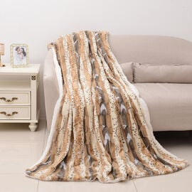 Deluxe Collection - High Quality Printed and Brushed Animal Print Faux Fur Sherpa Blanket (190x140 c