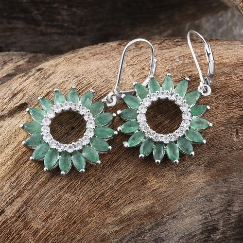 Kagem Zambian Emerald (Mrq), Natural Cambodian Zircon Floral Lever Back Earrings in Platinum Overlay Sterling Silver 5.750 Ct.