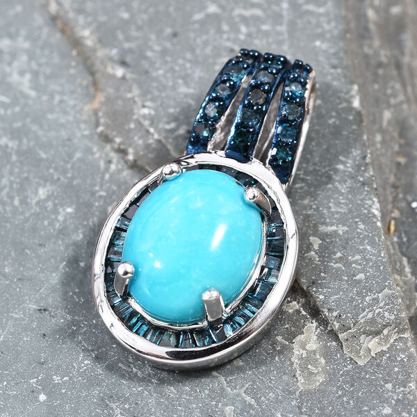 Arizona Sleeping Beauty Turquoise (Ovl 10x8mm), Diamond Pendant in Platinum Overlay Sterling Silver 2.38 Ct.