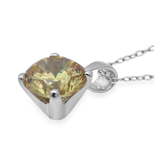 TJC Launch- Colour Change ELANZA Swiss Star Colour Change Green and Yellow Cubic Zirconia (Rnd) Pendant With Chain (Size 18) in Rhodium Overlay Sterling Silver
