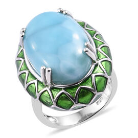12.75 Ct Larimar Solitaire Ring in Sterling Silver 7.88 Grams