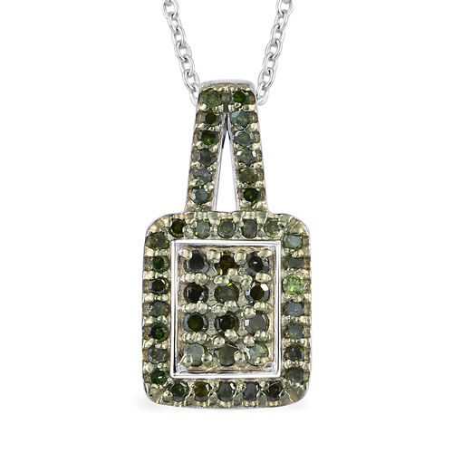 Green Diamond (Rnd) Pendant With Chain (Size 20) in Platinum and Green Overlay Sterling Silver 0.330