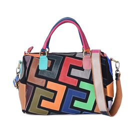 100% Genuine Leather Multi Colour Tote Bag with Detachable Shoulder Strap and Zipper Closure (Size 2