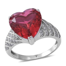 Limited Edition- ELANZA Simulated Ruby (Rare Size Hrt 13 mm), Simulated White Diamond Ring in Rhodium Plated Sterling Silver